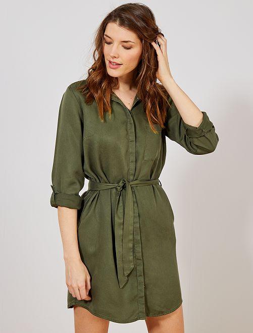 Robe chemise ceinturée                                                     kaki Femme
