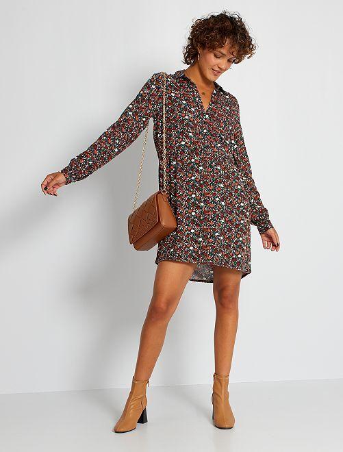 Robe chemise cintrée imprimée 'fleurs'                                                     rouille fleurs