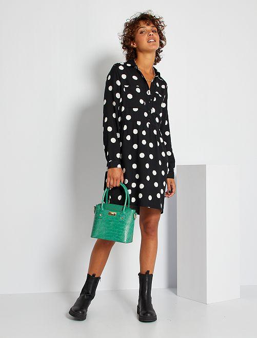 Robe chemise cintrée imprimée 'pois'                                                     noir pois
