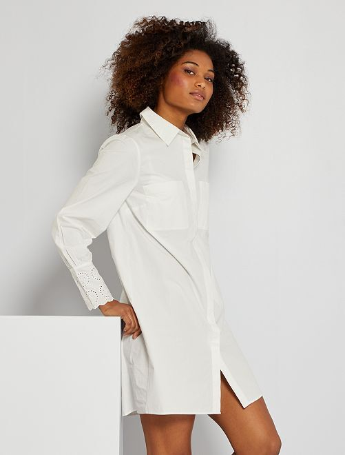 Robe chemise courte                             blanc