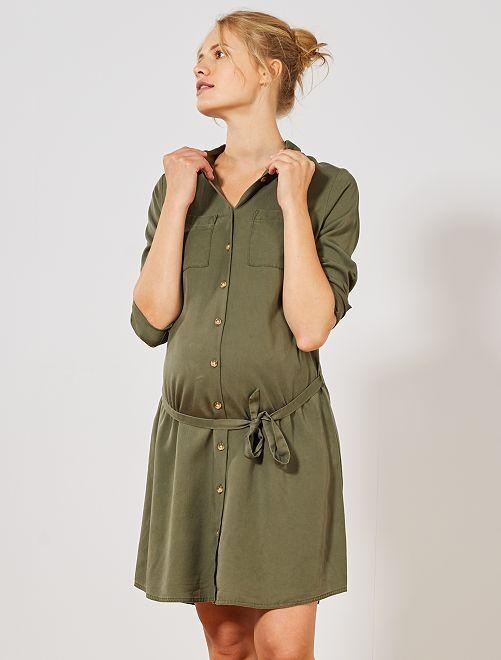Robe chemise de maternité en lyocell                                         kaki