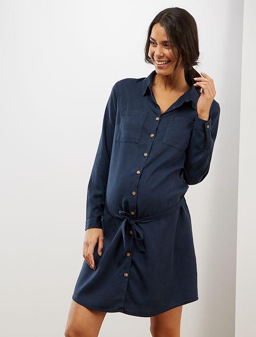 Robe chemise de maternité en lyocell                                         marine