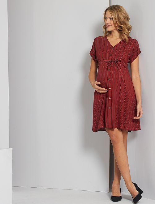 Robe chemise de maternité                                                     rouge/noir