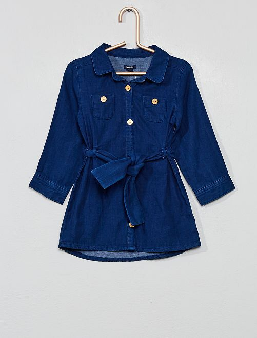 Robe chemise effet denim brut                             bleu