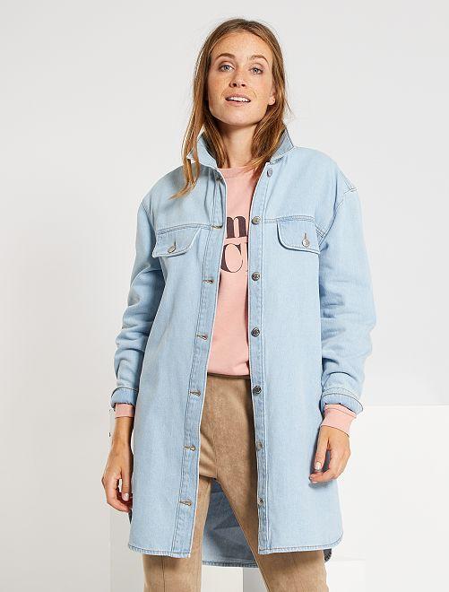 Robe chemise en denim                                         bleu délavé
