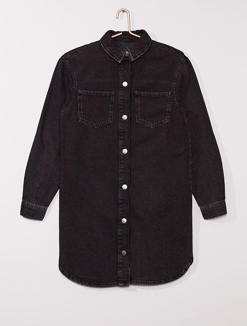 Robe chemise en denim                             noir