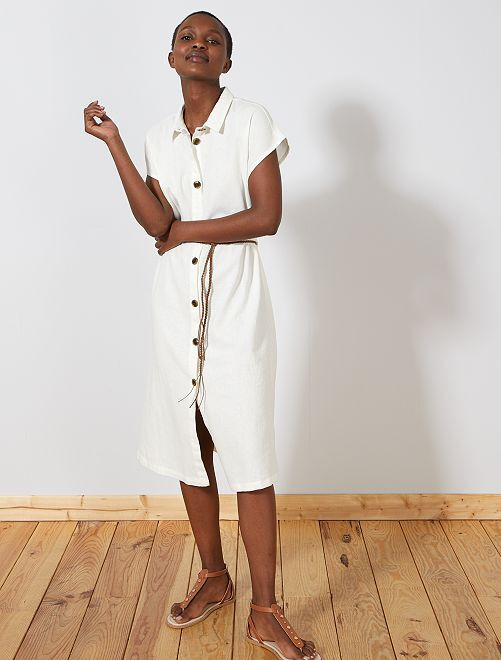 deedc28f936 Robe chemise en lin majoritaire  JDY  Femme - blanc - Kiabi - 35