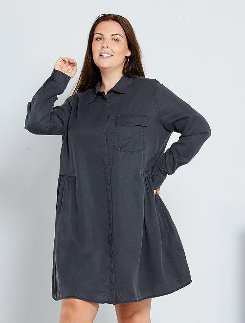 Robe chemise en lyocell                             anthracite