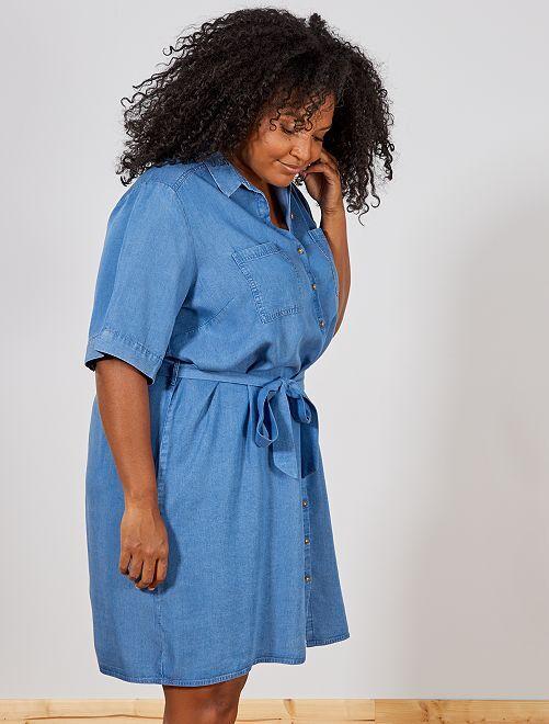 Robe chemise en lyocell                                 bleu denim Grande taille femme