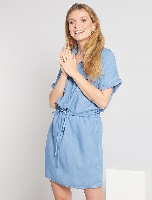 Robe chemise en lyocell                                         bleu