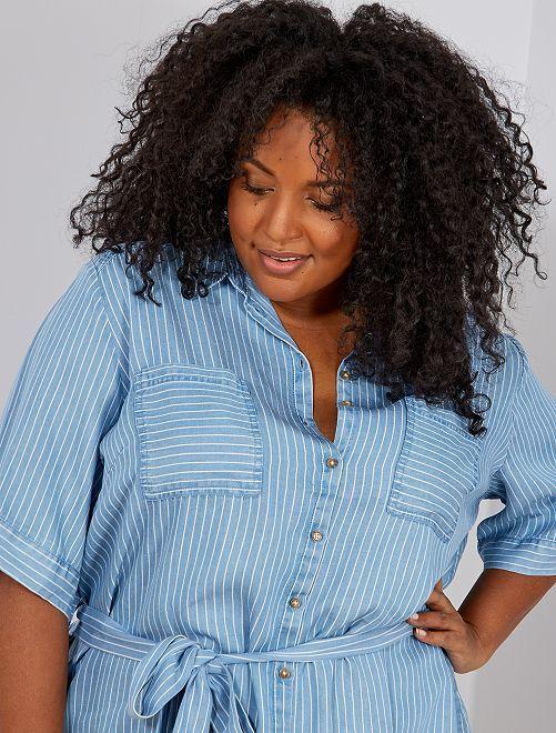 Robe chemise en lyocell                                                     bleu rayé Grande taille femme