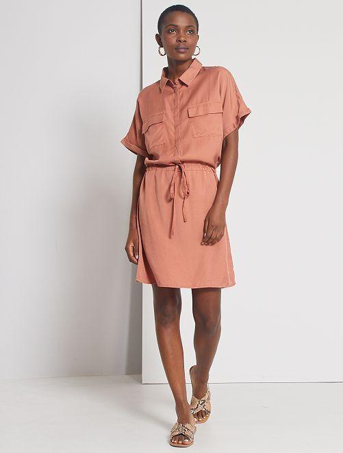 Robe chemise en lyocell                                                                             bois de rose