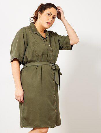 2651bbe05f2 Robe chemise en lyocell - Kiabi