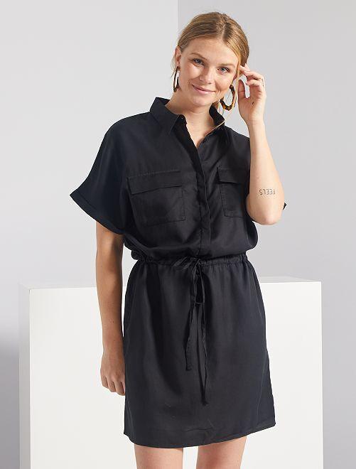 Robe chemise en lyocell                                                                             noir