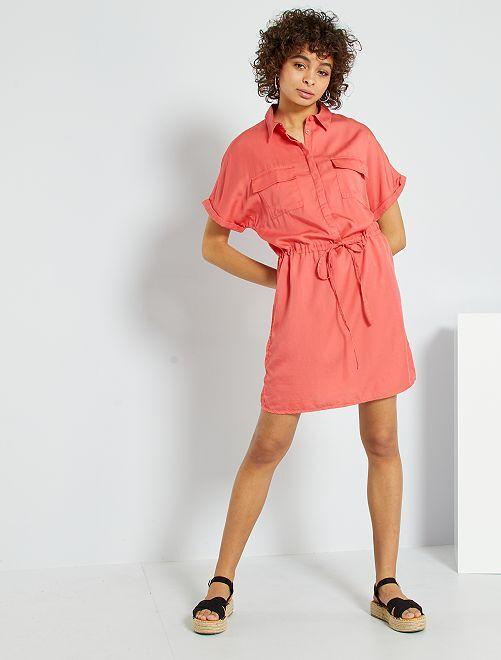 Robe chemise en lyocell                                         rose orangé