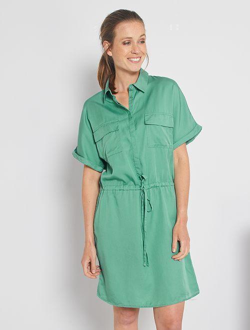 Robe chemise en lyocell                                                                                         vert amande