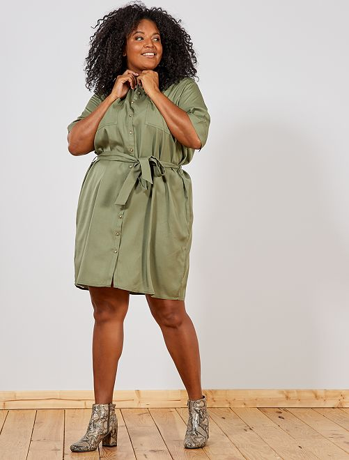 Robe chemise en lyocell                                                     vert lichen Grande taille femme