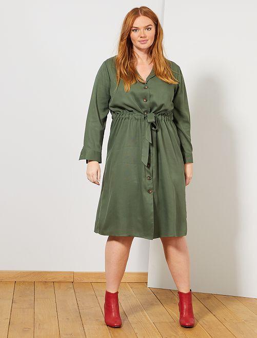 Robe chemise en lyocell                             vert thym