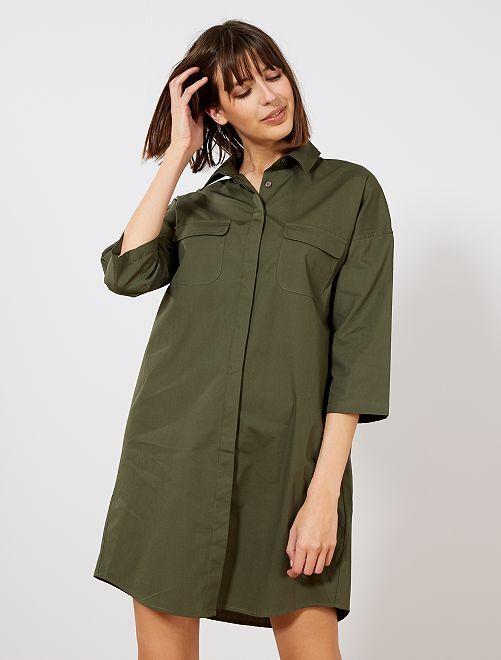 Robe chemise en popeline                             kaki Femme