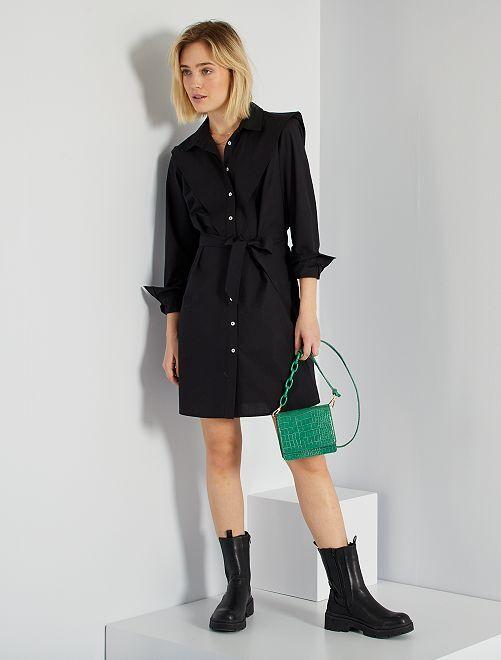 Robe chemise en popeline                             noir