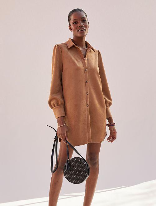 Robe chemise en suédine                             marron