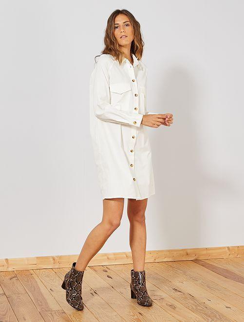 Robe chemise en velours                                 blanc Femme