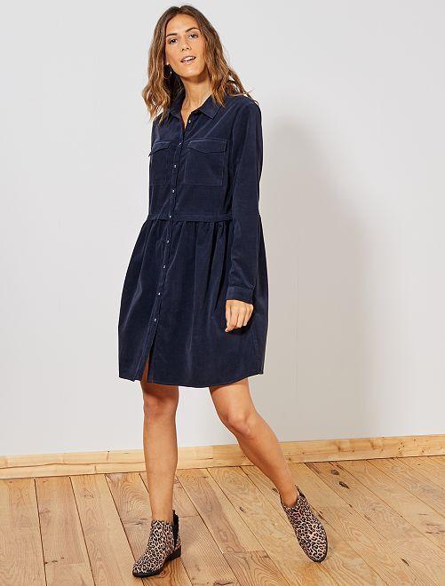 Robe chemise en velours côtelé                             bleu marine Femme