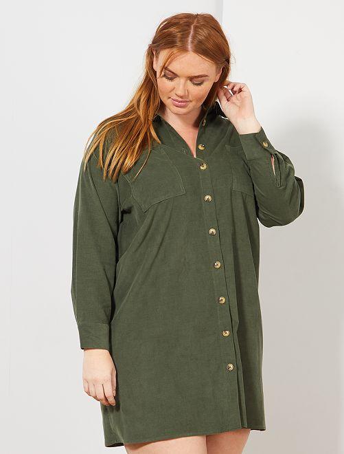 Robe chemise en velours côtelé                             vert thym