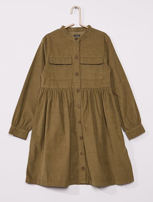 Robe chemise en velours                                                                 vert lichen
