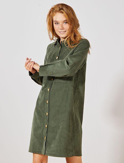 Robe chemise en velours                             vert thym