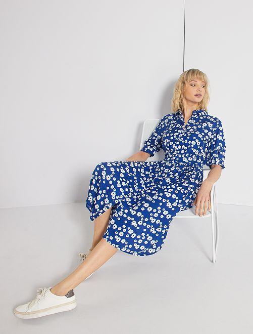Robe chemise fleurie                             bleu