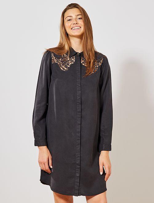 Robe chemise fluide avec dentelle                             noir Femme