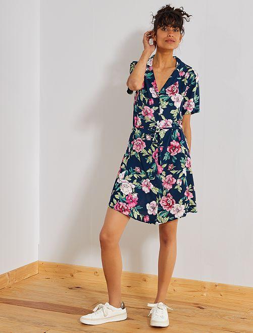 Robe chemise fluide 'JDY'                                                     marine fleuri Femme