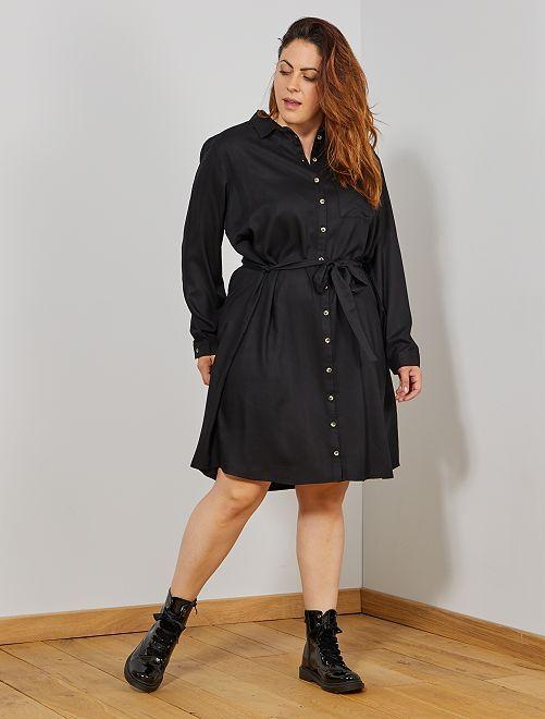 Robe chemise fluide                                         noir