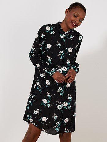 Robe chemise imprimé fleuri - Kiabi