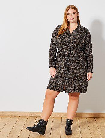 Grande taille femme - Robe chemise imprimé léopard - Kiabi