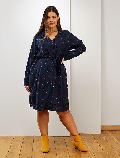 Robe chemise imprimée                                                     bleu imprimé