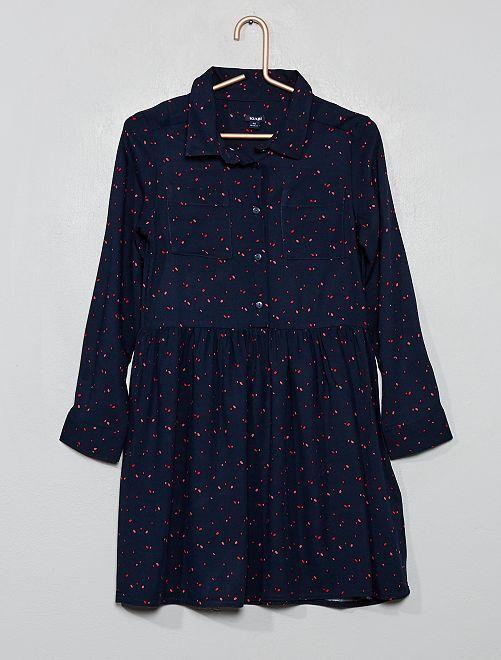 Robe chemise imprimée                                                                 bleu marine