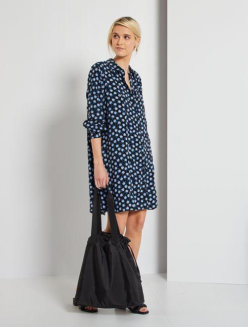 Robe chemise imprimée fleurs                                         noir/bleu