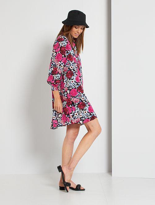 Robe chemise imprimée fleurs                                         noir/rose