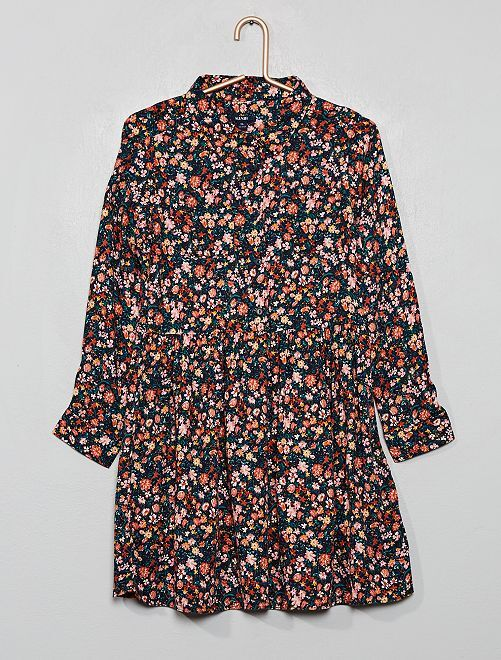 Robe chemise imprimée                                                                 noir fleuri