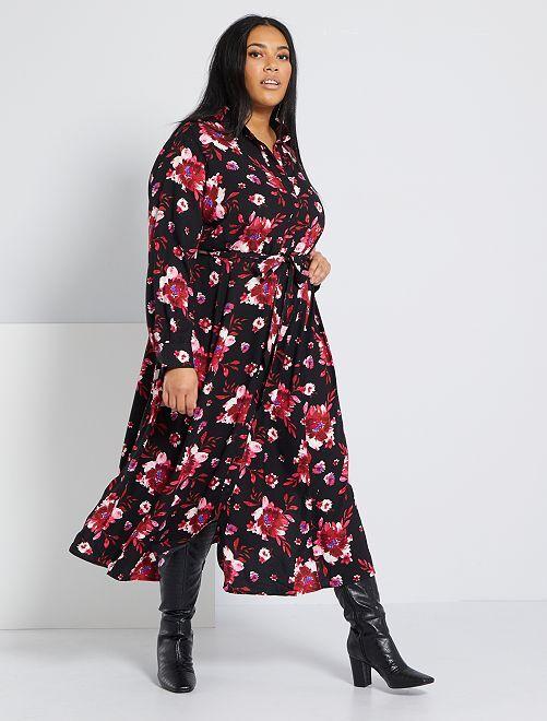 Robe chemise imprimée                             noir fleurs