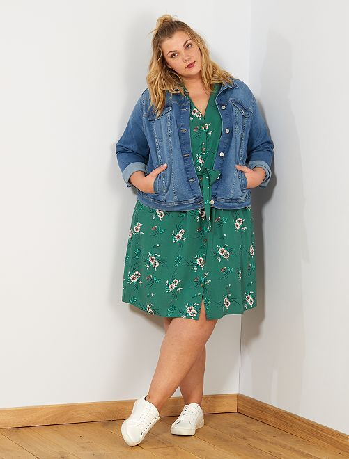 Robe chemise imprimée                             vert Grande taille femme