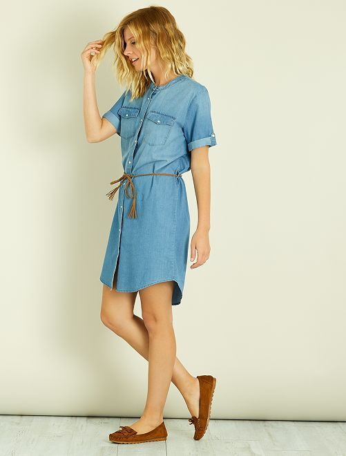 Robe chemise 'JDY'                             bleu jean Femme