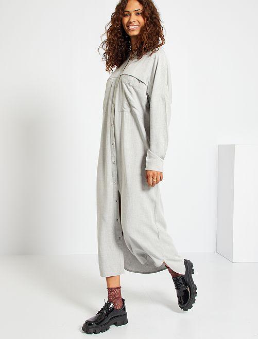 Robe chemise longue en tissu chiné                             gris chiné