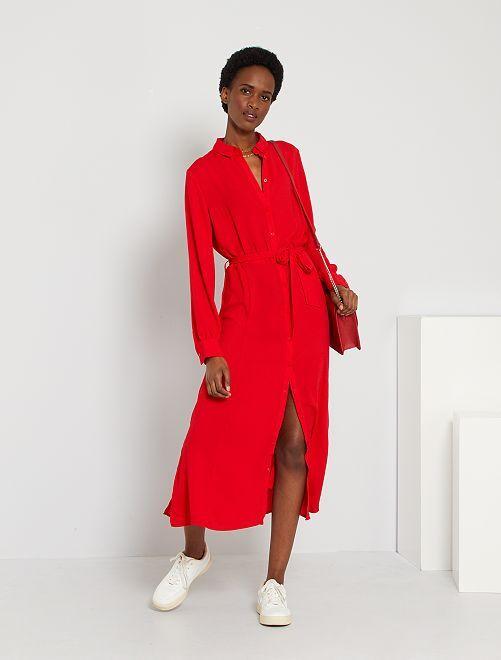 Robe chemise longue                                                     rouge chiné