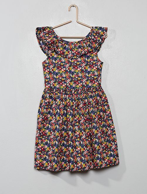 Robe colorée en popeline                                                                 fleurs