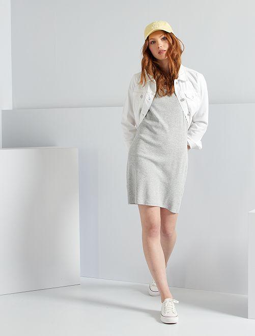 Robe côtelée éco-conçue                                                     gris