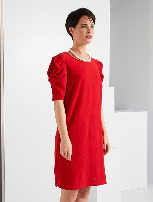 Robe coupe droite maille gaufrée                                                                 rouge