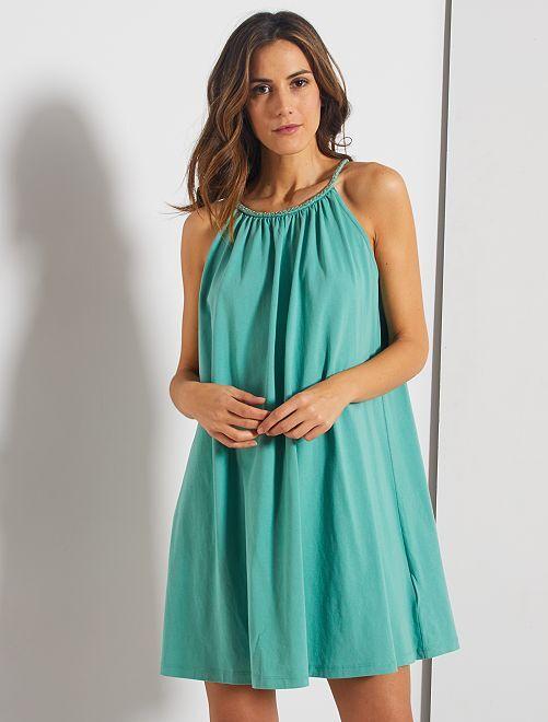 Robe courte à encolure américaine fantaisie                                         vert amande